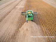 63801-09406 Soybean Harvest, John Deere combine harvesting soybeans - aerial - Marion Co. IL