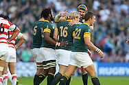 South Africa's Hooker Adrian Strauss celebrates after his try during the Rugby World Cup Pool B match between South Africa and Japan at the Community Stadium, Brighton and Hove, England on 19 September 2015. Photo by Phil Duncan.