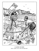 """A Castle in Spain. Neville. """"Couldn't you be a little more helpful, Ben?"""" (Benito Mussolini stands on the Anglo-Italian Agreement sand castle waving his flag as Chamberlain builds more sand castle defences around it amid on-coming waves at the seaside)"""