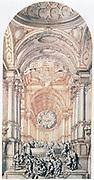 Decor design. Giuseppe Galli da Bibiena (1696-1757) Italian designer. Pen, brown ink, brown and grey wash.