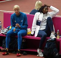 Athletics, 23. august 2003, VM Paris, World Championschip in Athletics,  Carolina Klüft, Sweden (Sverige) and  Denise Lewis, Great Britain, heptathlon