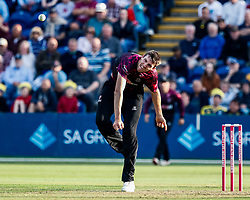 Craig Overton of Somerset in action today <br /> <br /> Photographer Simon King/Replay Images<br /> <br /> Vitality Blast T20 - Round 1 - Glamorgan v Somerset - Thursday 18th July 2019 - Sophia Gardens - Cardiff<br /> <br /> World Copyright © Replay Images . All rights reserved. info@replayimages.co.uk - http://replayimages.co.uk