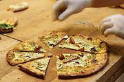 Freshly baked pizza slices
