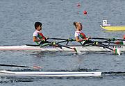 Marathon, GREECE, BUL W2X, Bow,  Rumyana NEYKOVA and Kristina BONCHEVA, at the FISA European Rowing Championships.  Lake Schinias Rowing Course, FRI 19.09.2008  [Mandatory Credit Peter Spurrier/ Intersport Images] , Rowing Course; Lake Schinias Olympic Rowing Course. GREECE