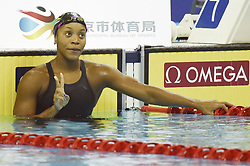 BEIJING, Nov. 11, 2017  Alia Atkinson of Jamaica reacts after winning the women's 200m breaststroke final at the FINA Swimming World Cup Beijing in Beijing, China, Nov. 11, 2017. Alia Atkinson claimed the title of the event in 2 minutes and 19.58 seconds. (Credit Image: © Ju Huanzong/Xinhua via ZUMA Wire)