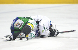 Matej Hocevar of Olimpija injured at 2nd final match of Slovenian National Championships  between HK Acroni Jesenice and HDD Tilia Olimpija, on March 17, 2009, in Podmezaklja, Jesenice, Slovenia. Acroni Jesenice won after free shots 2:1 and are leading 2:0. They need to win 2-times more. (Photo by Vid Ponikvar / Sportida)