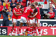 Barnsley forward Mamadou Thiam (26) scores a goal and celebrates to make the score 3-1 during the EFL Sky Bet League 1 match between Barnsley and Luton Town at Oakwell, Barnsley, England on 13 October 2018.