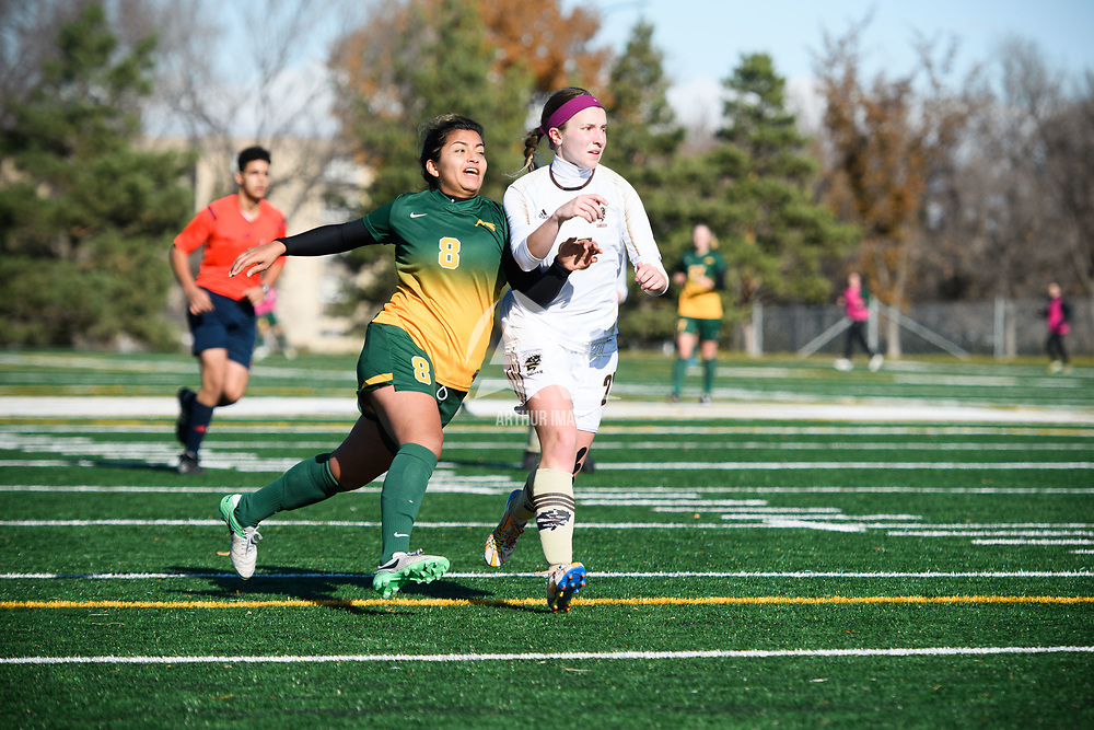 5th year midfielder Daniela Castro (8) of the Regina Cougars in action during the Women's Soccer home game on October 22 at U of R Field. Credit: Arthur Ward/Arthur Images
