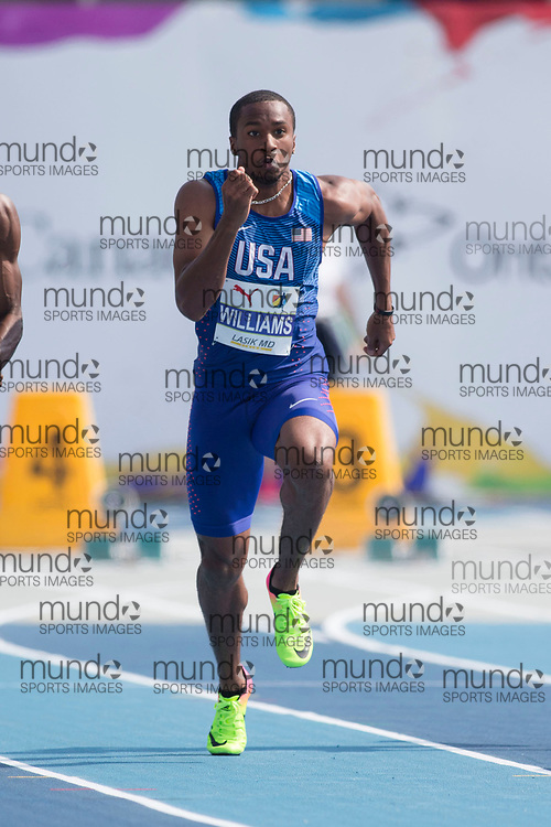 Toronto, ON -- 11 August 2018: Kendal Williams (USA), 100m semi-final at the 2018 North America, Central America, and Caribbean Athletics Association (NACAC) Track and Field Championships held at Varsity Stadium, Toronto, Canada. (Photo by Sean Burges / Mundo Sport Images).