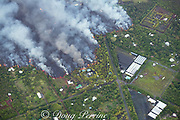 lava originating from Kilauea Volcano, erupting from fissure 8 in Leilani Estates, near Pahoa, flows through lower Puna into Kapoho, destroying agricultural properties and burning trees and structures, Hawaii ( the Big Island ), Hawaiian Islands, U.S.A.