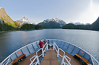 The bow of an adventure entering South Baranof Wilderness in Gut Bay on Baranof Island in Southeast Alaska.