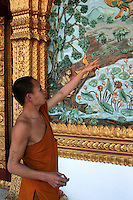 Buddhism is the primary religion of Laos. The Buddhism practiced in Laos is of the Theravada tradition. Lao Buddhism is a unique version of Theravada Buddhism and is at the basis of Lao culture. Buddhism in Laos is often closely tied to animist beliefs and belief in ancestral spirits, particularly in rural areas