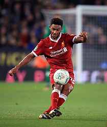 """Liverpool's Joe Gomez during the Carabao Cup, third round match at the King Power Stadium, Leicester. PRESS ASSOCIATION Photo. Picture date: Tuesday September 19, 2017. See PA story SOCCER Leicester. Photo credit should read: Mike Egerton/PA Wire. RESTRICTIONS: EDITORIAL USE ONLY No use with unauthorised audio, video, data, fixture lists, club/league logos or """"live"""" services. Online in-match use limited to 75 images, no video emulation. No use in betting, games or single club/league/player publications."""