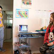 Brooklyn's brother, Spencer, who's in his first year of high school, drops-in on his sister. Both are attending school virtually from their own bedroom as their mother works in her home office.