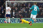 Goal - Dean Henderson of England U21's is beaten as Mahmoud Dahoud of Germany U21's scores a goal to give a 0-1 lead to the away team during the U21 International match between England and Germany at the Vitality Stadium, Bournemouth, England on 26 March 2019.