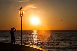 THEMENBILD - URLAUB IN KROATIEN, ein Tourist fotografiert eine Möwe die auf einer Laterne sitzt bei Sonnenuntergang, aufgenommen am 03.07.2014 in Porec, Kroatien // a Tourists takes pictures of a seagull who is sitting on a lantern at sunset at Porec, Croatia on 2014/07/03. EXPA Pictures © 2014, PhotoCredit: EXPA/ JFK