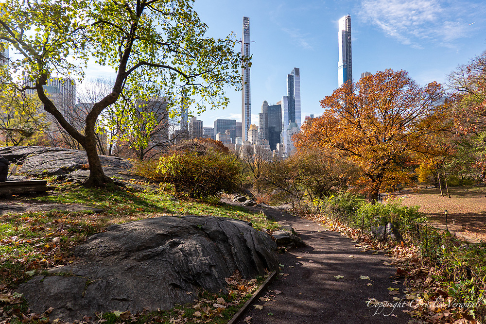 Autumn color along a path to the Dene Summerhouse in Central Park with a view of the super tall towers of midtown Manhatten; Nov. 25, 2020.