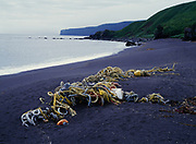 Tangle of ghost fishing nets and ropes washed ashore, St. George Island, Pribilof Islands, Bering Sea, Alaska.