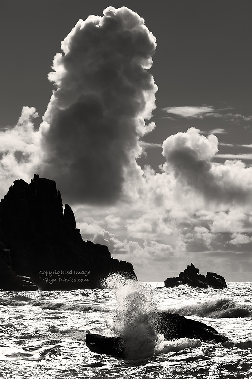 """Nominee in the 'Nature' category of the 2019, International 14th Black & White Spider Awards <br /> <br /> """"In brilliant sunlight over a Cornish beach, the changing weather brought huge towering cumulonimbus clouds across the horizon. The rapidly changing and convecting clouds were accompanied by the operatic melodies of a Gilbert & Sullivan Opera, Ruddigore, being rehearsed at the nearby cliff top open air theatre - quite surreal !"""""""