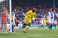 Souleymane Bamba of Leeds United celebrates after scoring his teams 1st goal. Skybet football league Championship match, Blackburn Rovers v Leeds United at Ewood Park in Blackburn, Lancs on Saturday 12th March 2016.<br /> pic by Chris Stading, Andrew Orchard sports photography.