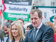 Alastair Campbell. lTony Benn's funeral at 11.00am at St Margaret's Church, Westminster. His body was brought in a hearse from the main gates of New Palace Yard at 10.45am, and was followed by members of his family on foot. The rout was lined by admirers. On arrival at the gates it was carried into the church by members of the family. Thursday 27th March 2014, London, UK. Guy Bell, 07771 786236, guy@gbphotos.com