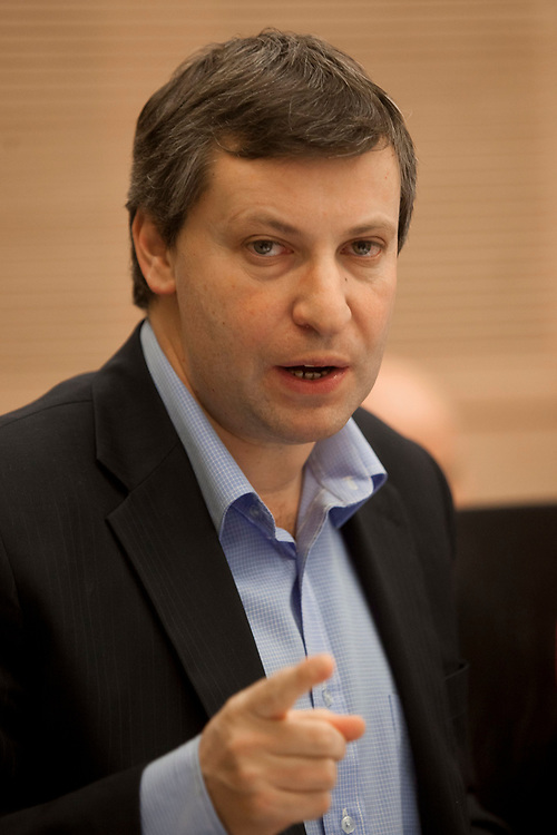 Israel's Tourism Minister Stas Misezhnikov attends a session of the Finance Committee at the Knesset, Israel's parliament in Jerusalem, on January 10, 2012.