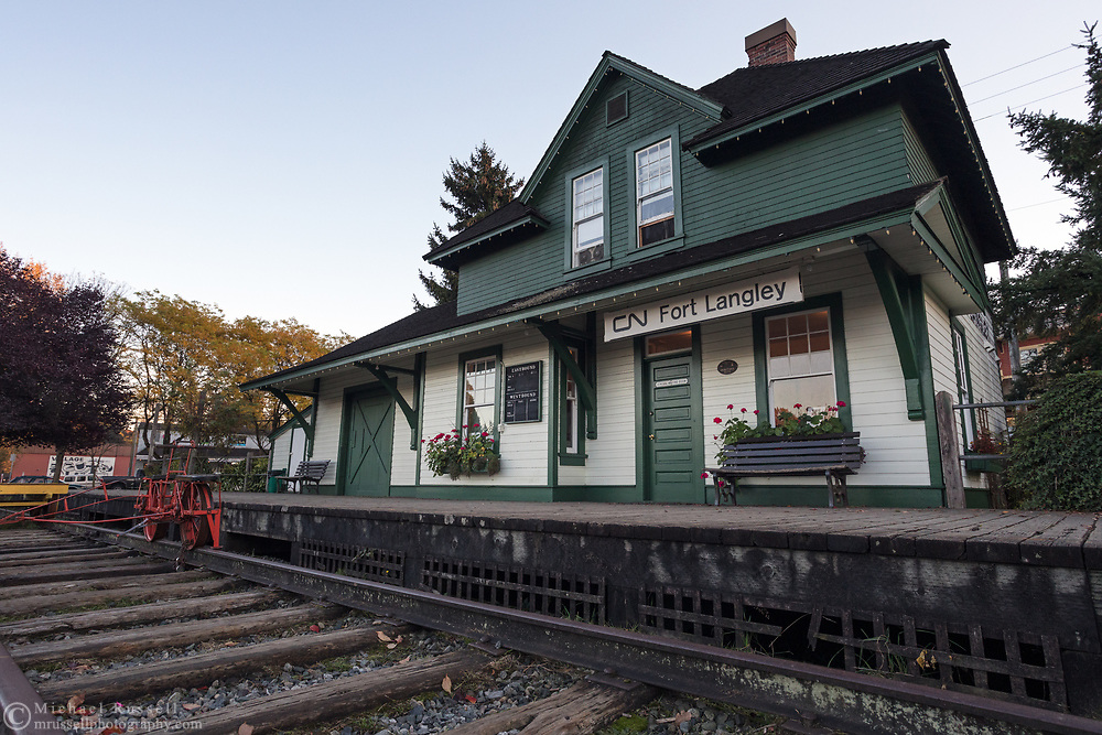 The tracks outside the historic CN Station in Fort Langley, British Columbia, Canada.  The CN Station was built in 1915 and is now owned by the Township of Langley. Operations and maintenance of the station are by the Langley Heritage Society.