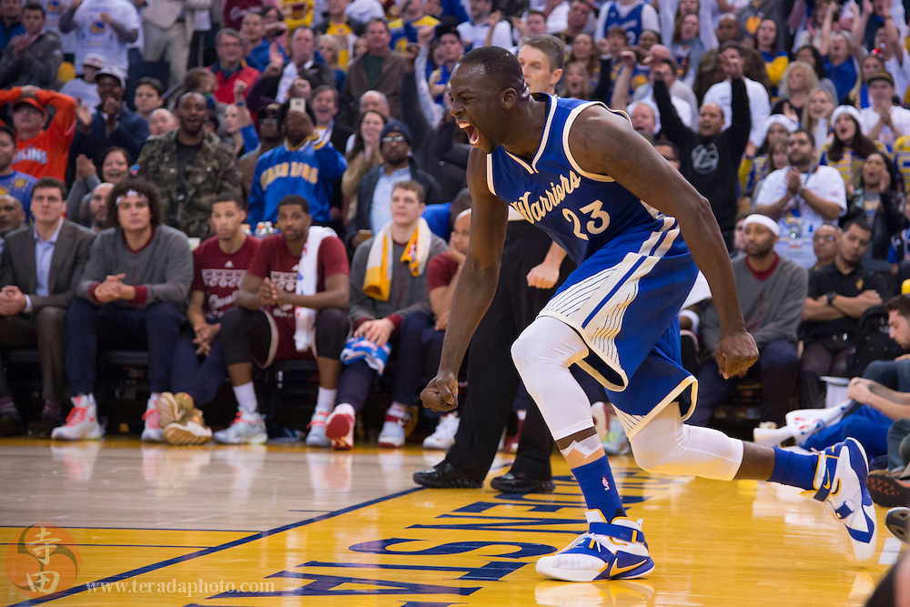 December 25, 2015; Oakland, CA, USA; Golden State Warriors forward Draymond Green (23) celebrates in the fourth quarter of a NBA basketball game on Christmas against the Cleveland Cavaliers at Oracle Arena. The Warriors defeated the Cavaliers 89-83.