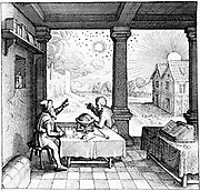 Astrologers preparing a horoscope. From title page of section on casting horoscopes from Robert Fludd 'Utriusque cosmi ... historia',  Oppenheim, 1617-19. Engraving.