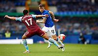 Football - 2019 / 2020 Premier League - Everton vs Aston Villa<br /> <br /> Lucas Digne of Everton and Mahmoud Hassan of Aston Villa at Goodison Park<br /> <br /> COLORSPORT/LYNNE CAMERON