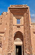 Main entrance to the Hareem of the 18th Century Ottoman architecture of the Ishak Pasha Palace (Turkish: İshak Paşa Sarayı) ,  Agrı province of eastern Turkey. .<br /> <br /> If you prefer to buy from our ALAMY PHOTO LIBRARY  Collection visit : https://www.alamy.com/portfolio/paul-williams-funkystock/ishak-pasha-palace-turkey.html<br /> <br /> Visit our TURKEY PHOTO COLLECTIONS for more photos to download or buy as wall art prints https://funkystock.photoshelter.com/gallery-collection/3f-Pictures-of-Turkey-Turkey-Photos-Images-Fotos/C0000U.hJWkZxAbg