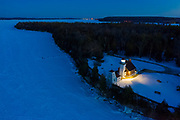 The Sherwood Point lighthouse at dusk on the Door County Peninsula.