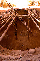 Native American, Indian pithouse pit house exhibit at Anasazi State Park Museum, Boulder, Utah, UT, ancient culture, cultural, logs, ladder, pit fireplace, arid, Southwest America, American Southwest, US, United States, Image ut423-18141, Photo copyright: Lee Foster, www.fostertravel.com, lee@fostertravel.com, 510-549-2202