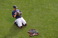 Joe Mauer #7 of the Minnesota Twins prepares before a game against the Chicago White Sox on May 13, 2013 at Target Field in Minneapolis, Minnesota.  The Twins defeated the White Sox 10 to 3.  Photo: Ben Krause
