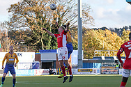 George Lapslie of Charlton Athletic (32) wins a header during the The FA Cup match between Mansfield Town and Charlton Athletic at the One Call Stadium, Mansfield, England on 11 November 2018.