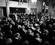 Inaugeration of Cearbhall O'Dalaigh as President  (H77).1974..19.12.1974..12.19.1974..19th December 1974..Following the sudden death of President Erskine Childers, Mr Cearbhall O'Dalaigh was nominated by The Fianna Fail party as its candidate to replace him. The Fine Gael /Labour coalition government did not oppose the nomination and Mr O'Dalaigh was elected un-opposed on a joint party agreement...Pictured is a general view of St Patrick's Hall, Dublin Castle, as Mr Cearbhall O'Dalaigh is sworn in as President of Ireland.