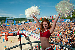 06-08-2011 VOLLEYBAL: FIVB WORLD TOUR GRANDSLAM: KLAGENFURT<br /> Cheerleader Eskimo girl Katrin Ambrosi, Milleniumdancers, at A1 Beach Volleyball Grand Slam tournament of Swatch FIVB World Tour 2011<br /> ©2011-FotoHoogendoorn.nl / Matic Klansek Velej