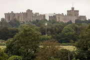 Windsor Castle is viewed from Datchet on 20th June 2021 in Datchet, United Kingdom. Windsor Castle is the oldest and largest occupied castle in the world.