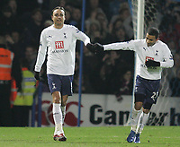 Photo: Lee Earle/Sportsbeat Images.<br /> Portsmouth v Tottenham Hotspur. The FA Barclays Premiership. 15/12/2007. Dimitar Berbatov is congratulated by Aaron Lennon after scoring the winning goal for Tottenham.