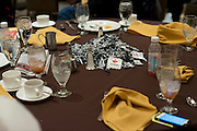 UConn stickers and pom-poms are left on tables after a supporters brunch at the Hyatt Regency in Dallas, Texas before watching her school compete in the NCAA Final Four on April 5, 2014. (Cooper Neill / for The New York Times)