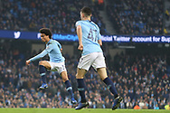 19 Leroy Sané shoots and scores goal No 7 for Manchester City during the The FA Cup 3rd round match between Manchester City and Rotherham United at the Etihad Stadium, Manchester, England on 6 January 2019.