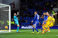 Cardiff City's Lee Peltier (13) heads just wide of goal from close range. Skybet football league championship match, Cardiff city v Rotherham Utd at the Cardiff city stadium in Cardiff, South Wales on Saturday 23rd January 2016.<br /> pic by Carl Robertson, Andrew Orchard sports photography.
