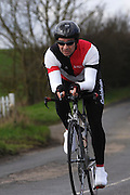 United Kingdom, Finchingfield, Mar 27, 2010:  Christopher Douglas, Colchester Rovers CC, approaches the 4 miles to go marker during the 2010 edition of the 'Jim Perrin' Memorial Hardriders 25.5 mile Sporting TT promoted by Chelmer Cycling Club. Copyright 2010 Peter Horrell.