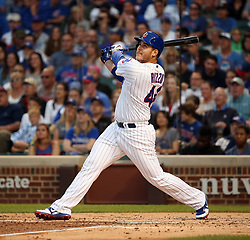 June 19, 2017 - Chicago, IL, USA - Chicago Cubs first baseman Anthony Rizzo (44) watches his sacrifice fly against the San Diego Padres that scored Chicago Cubs center fielder Albert Almora Jr. during the third inning on Monday, June 19, 2017 at Wrigley Field in Chicago, Ill. (Credit Image: © Nuccio Dinuzzo/TNS via ZUMA Wire)