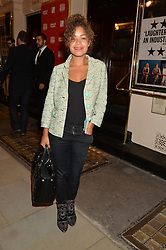 ANTONIA THOMAS at the West End opening night of 'Great Britain' a  play by Richard Bean held at The Theatre Royal, Haymarket, London followed by a post show party at Mint Leaf, Suffolk Place, London on 26th September 2014.