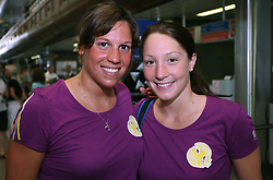 Swimmer Anja Carman and Anja Klinar of Slovenian Olympic Team at departure to Beijing 2008 Olympic games, on July 31, 2008, at Airport Jozeta Pucnika, Brnik, Slovenia. (Photo by Vid Ponikvar / Sportal Images)/ Sportida)