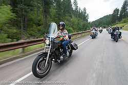 Cindy Panarra on the Annual Cycle Source and Michael Lichter Rides (combined this year) left from the new Broken Spoke area of the Iron Horse Saloon during the Sturgis Black Hills Motorcycle Rally. SD, USA.  Wednesday, August 10, 2016.  Photography ©2016 Michael Lichter.
