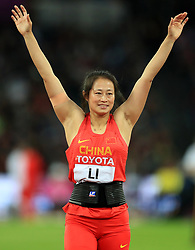 China's Li Lingwei celebrates taking silver in the Women's Javelin Final during day five of the 2017 IAAF World Championships at the London Stadium.