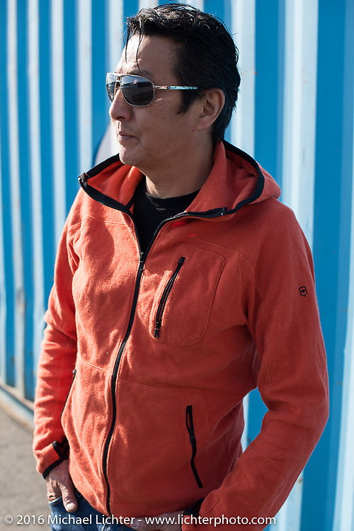 Ken Nagai's full custom Ken's Factory bagger photographed in the Yokohama docks just after the annual Mooneyes Yokohama Hot Rod & Custom Show. Japan. December 4, 2016.  Photography ©2016 Michael Lichter.