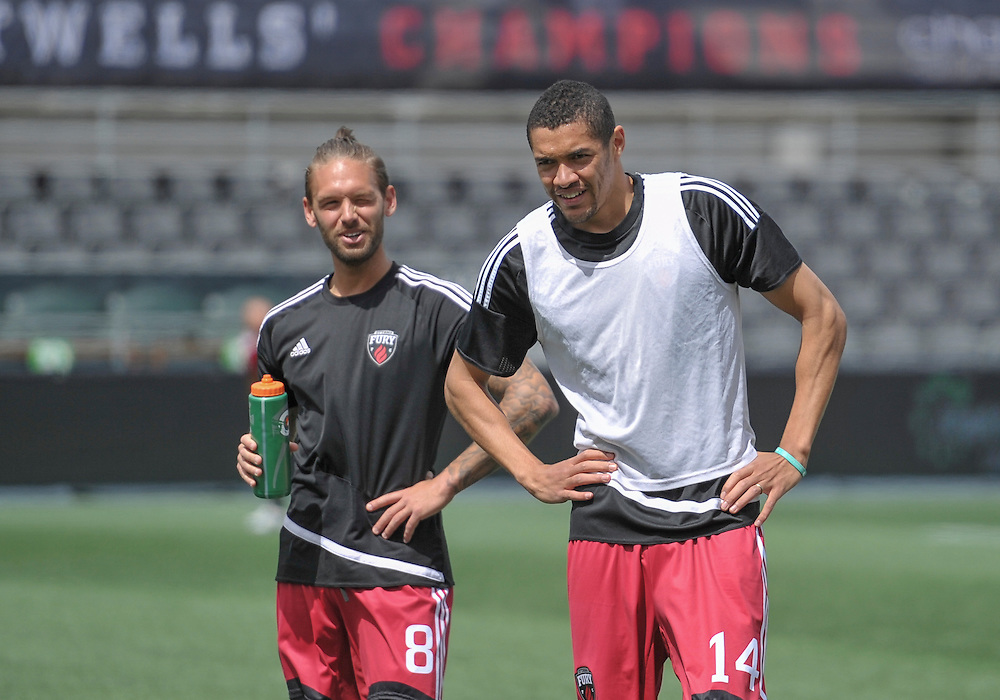Ottawa Fury FC midfielder James Bailey (#8) and Ottawa Fury FC defender Onua Obasi (#14) during the pre-game warmup before NASL match between the Ottawa Fury FC and Minnesota United FC at TD Place Stadium in Ottawa, ON. Canada on May 7, 2016.<br /> <br /> PHOTO: Steve Kingsman/Freestyle Photography